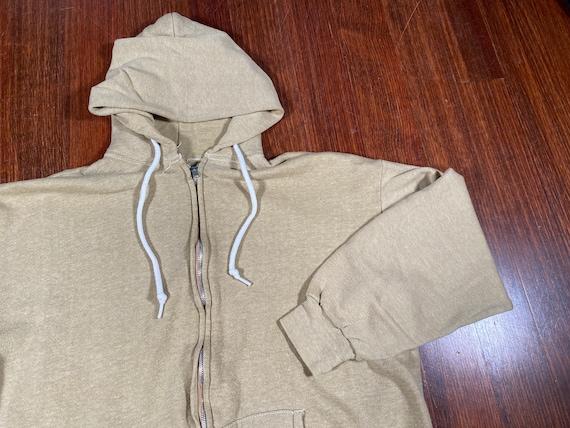 Vintage Plain Tan Hoodie 60s plain hoodie blank zi