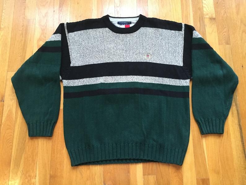 571dc5da5 Vintage Tommy Hilfiger sweater size XL black grey green tommy | Etsy