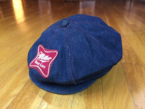 Vintage Miller High Life newsboy denim hat vintage