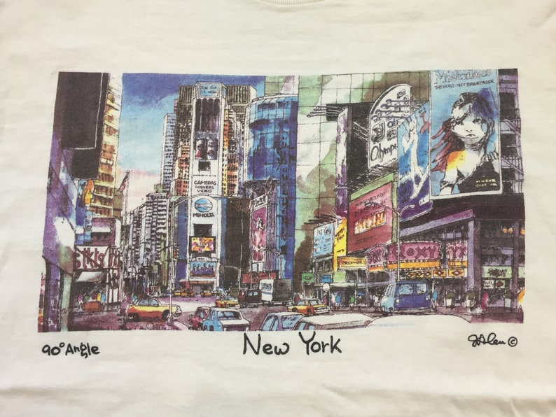 Vintage Times Square t shirt 90s new york city shirt 90s times square shirt 90 degree angle shirt j. alen les miserables olympus camera nyc