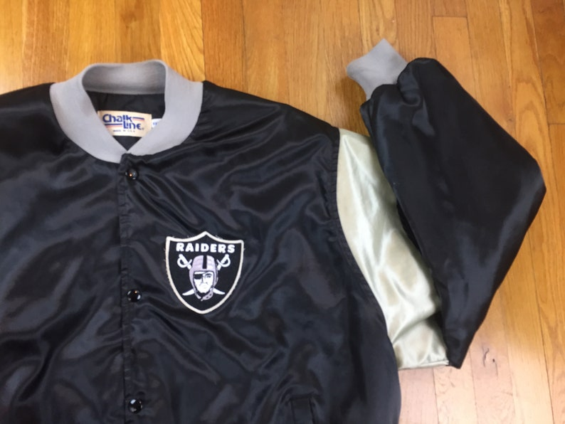 9b5735a77 Vintage Raiders Chalk line jacket 90s raiders jacket vintage chalk line  fanimation jacket oakland raiders nfl football puffer made in usa