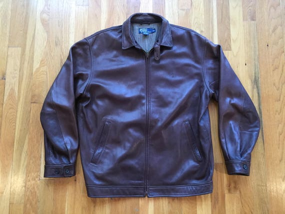 62b2f849211 Vintage Rare Polo Ralph Lauren leather jacket size ML p wing   Etsy