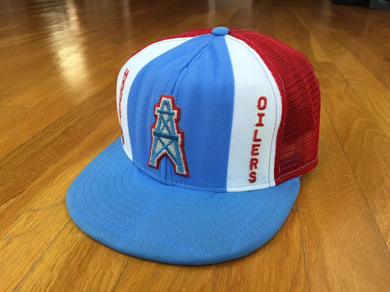 Vintage Houston Oilers hat oilers trucker hat 90s 80s double  39d2cd9afc98