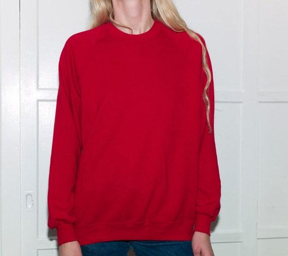 Vintage Red Sweatshirt, Red Thin Sweatshirt, Ragla