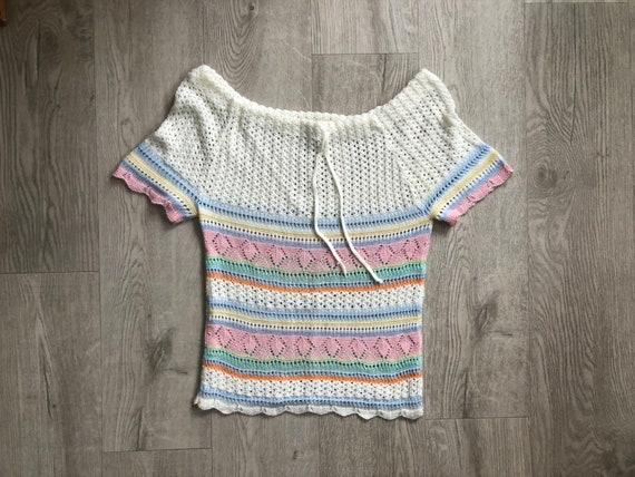 Vintage short sleeve acrylic sweater top,70s 1970s