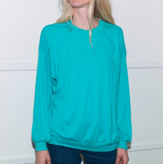 Vintage Long Sleeve Turquoise Shirt, Made in Calif