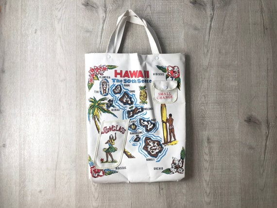 Vintage 1960s Hawaii The 50th State tote bag,1960s