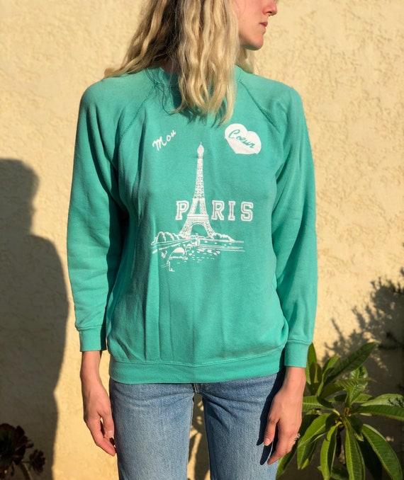 Vintage 70s thin Paris sweatshirt,Raglan Sweatshir