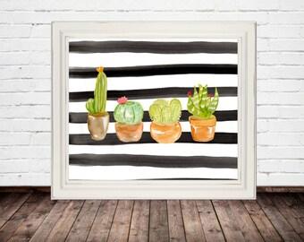 cactus print, cactus decor, succulent print, watercolor cactus, succulent wall art, cactus wall art, watercolor print, digital download