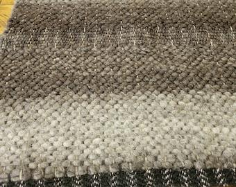Wool handwoven rug,Jacob Sheep wool floor rug, #FB416 Sheep's wool woven rug/runner, gray striped wool floor rug