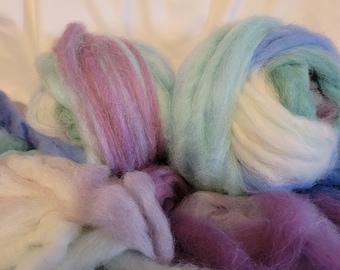 Alpaca Roving - 6 oz bundles - multi colored roving. Colorful alpaca roving-spinning-felting-weaving fiber-Iowa raised alpaca roving