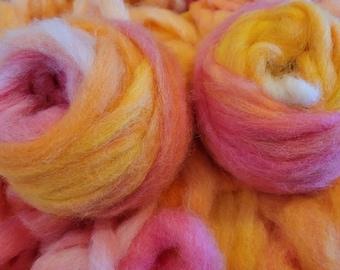 Alpaca Roving - 3 oz. pkg of variated yellow-white-orange-light red colored alpaca roving-ready to spin bright alpaca fiber