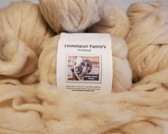 """Navajo Churro Rovings from """"Rocky"""" -4 oz package-fawn colored wool rovings, light beige color wool rovings, ready to spin wool"""
