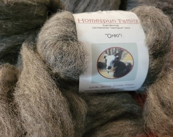 """Jacob Sheep Wool Roving from """"Oreo"""" - 4 oz. pkg of Jacob Sheep rare breed Wool Roving- gray Jacob Sheep Ready to spin wool roving"""