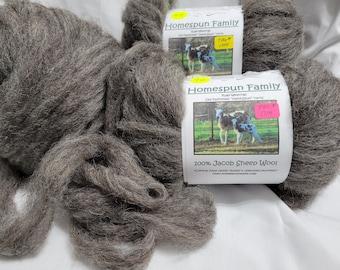 Wool Roving- Jacob Sheep - Tag# 1714 Natural gray color wool roving - carded wool-4 oz Jacob Sheep wool-ready to spin wool rovings