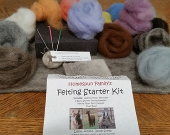 Needle Felting Starter Kit-Everything needed to begin your 2D needle felting or wool painting, includes Alpaca, Llama and Jacob Sheep wool!