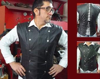 Leather fetish corset for Men with metal bones