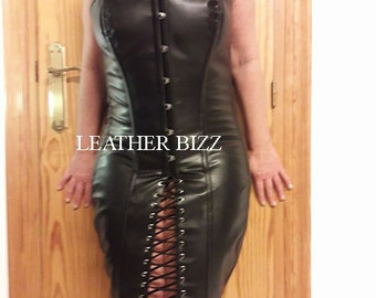 Leather Steel boned Corset dress