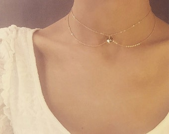 TIARA | Gold choker necklace with customizable gold heart