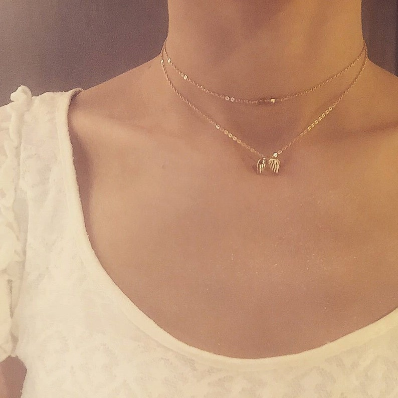 ANGEL Gold two-layer chain necklace choker with gold angel wings