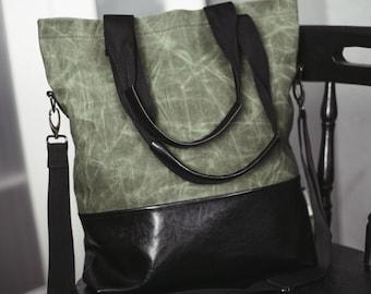 Tote Bag, Waxed canvas bag, Khaki green bag, Diapers bag, Faux leather bag, Shoulder bag, Laptop bag, Shopping bag, School bag, Unisex, Gift