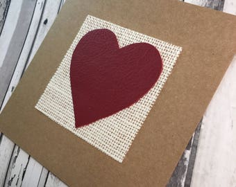 Heart Card with Red Leather Heart - 'Love' - perfect for 3rd Wedding Anniversary
