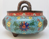 Antique Chinese bronze Cloisonne Enamel Islamic Word Hand painted incense burner Censer 7 quot H ( 1380)