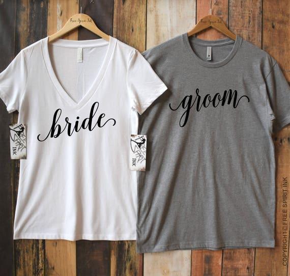 "Paar Pärchen Partner Herren /& Damen T-Shirt SET /""BRAUT /& BRÄUTIGAM/"" Hochzeit Ehe"