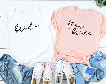 Bridesmaid Shirts. Bride Shirt. Team Bride Shirt. Bridesmaid Shirt. Bachelorette Party Tee. Bridal Party Tee. Getting Ready Shirt. Wife Tee