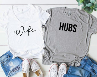 Wife and Hubs Shirt Set. Hubs & Wife Shirts. Honeymoon Shirts. Couples Shirt Set. Newlywed Shirts. Mr. and Mrs. Shirts. Just Married Shirt