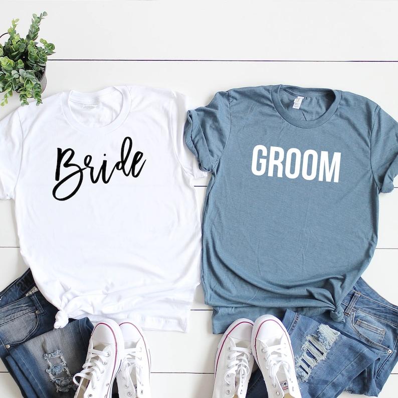 02126c5c Bride Groom Shirts. Bride Groom Shirt Set. Newlywed Shirts.   Etsy