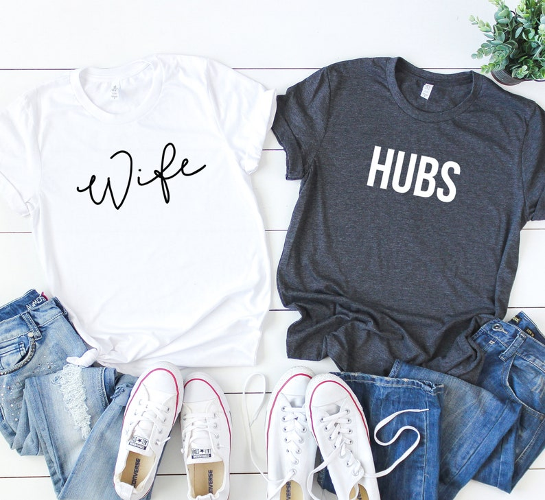 d0e45c07 Wife and Hubs Shirt Set. Hubs & Wife Shirts. Newlywed Shirts.   Etsy