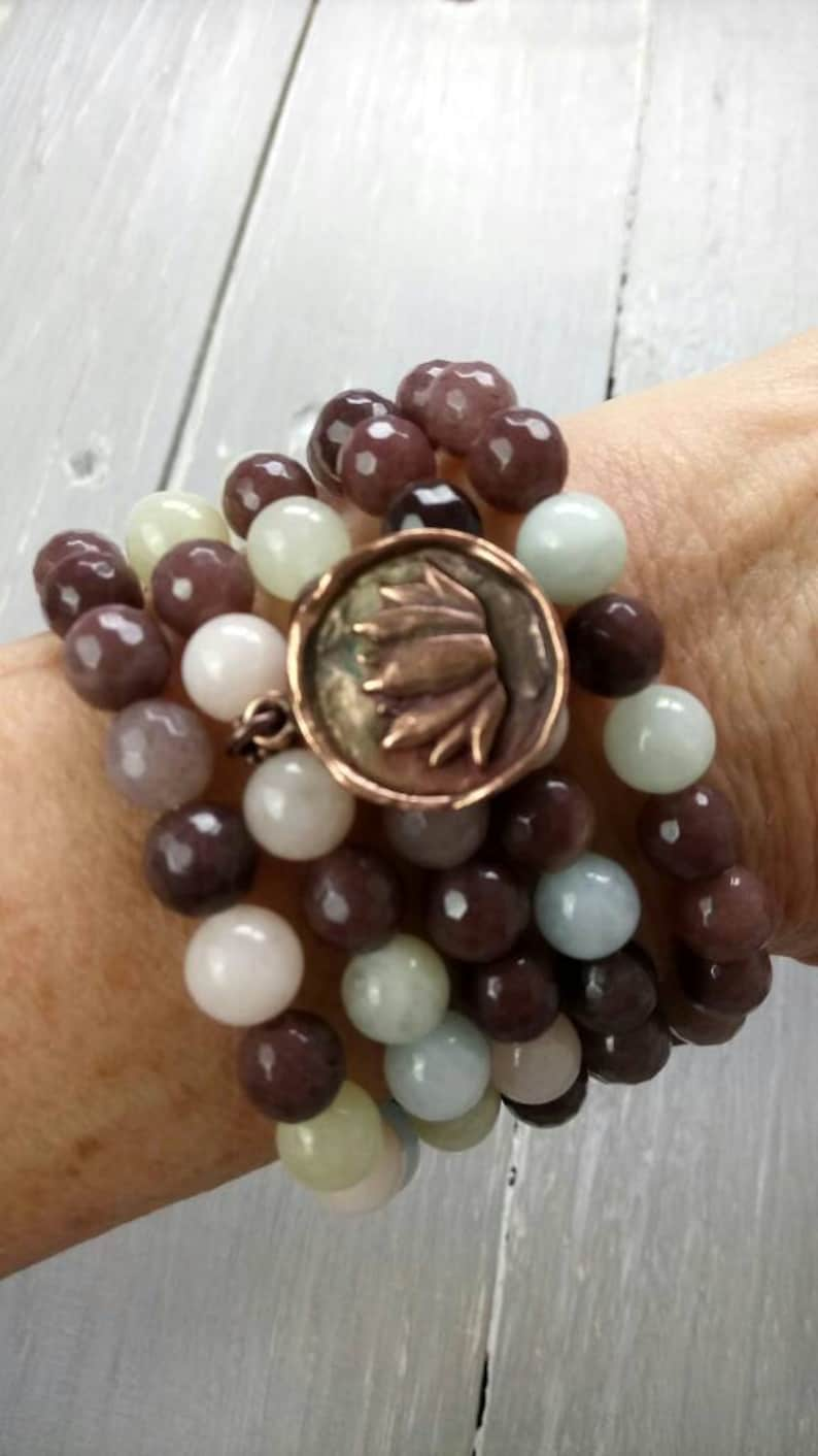 Gemstone Mala 108 Mala Beads Aventurine Yoga Gift ANXIETY BRACELET Japa Mala Yoga Jewellery Buddhist Mala Morganite Mala Bracelet