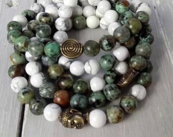 BUDDHIST MALA BRACELET, African Turquoise, Howlite, Buddha Head, Yoga Jewellery, Gift for Yoga Lovers, Meditation Jewellery, Prayer Beads