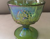 Indiana Green Carnival Glass Harvest Grape Sugar Bowl