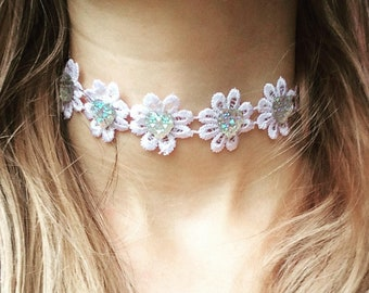 Festival flower choker, festival jewelry, glitter flower choker, hippy necklace, hippie choker, holiday accessories, embroidered choker