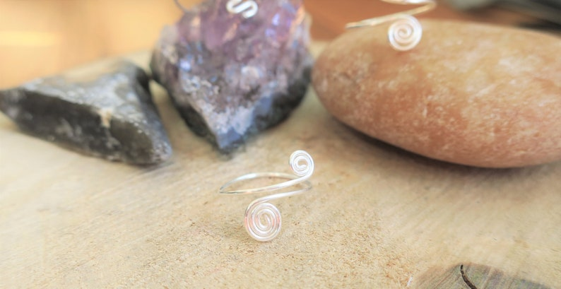 adjustable heart spiral rings boho hippy midi ring set adjustable midi ring set any size knuckle ring set heart and spiral midi ring set