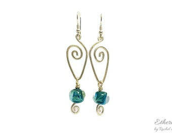 Lampwork glass and sterling silver earrings with silver spirals and beads in shades of green and aqua