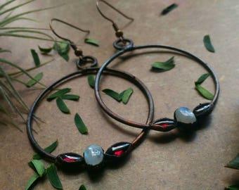 Garnet Moonstone Hoop Copper Earrings