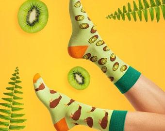 Kiwi socks | men socks | colorful socks | cool socks | mismatched socks | womens socks | crazy socks | unique socks | patterned socks