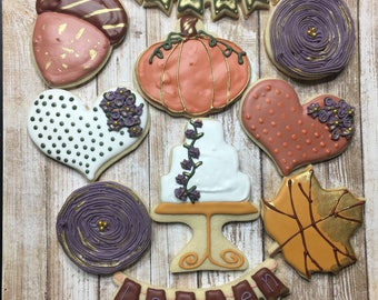 Rustic Fall Birthday Themed Cookies