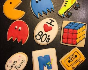 80s Themed Sugar Cookies - 1 Dozen