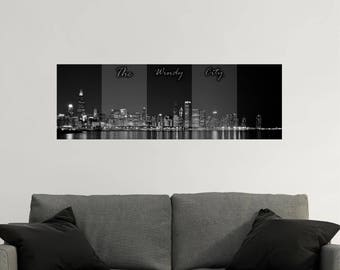 PANORAMIC Wall Decal - Chicago Wall Decal - Chicago Skyline - Panoramic Wall Art - Panoramic Wall Murals - The Windy City & Chicago skyline wall decal | Etsy