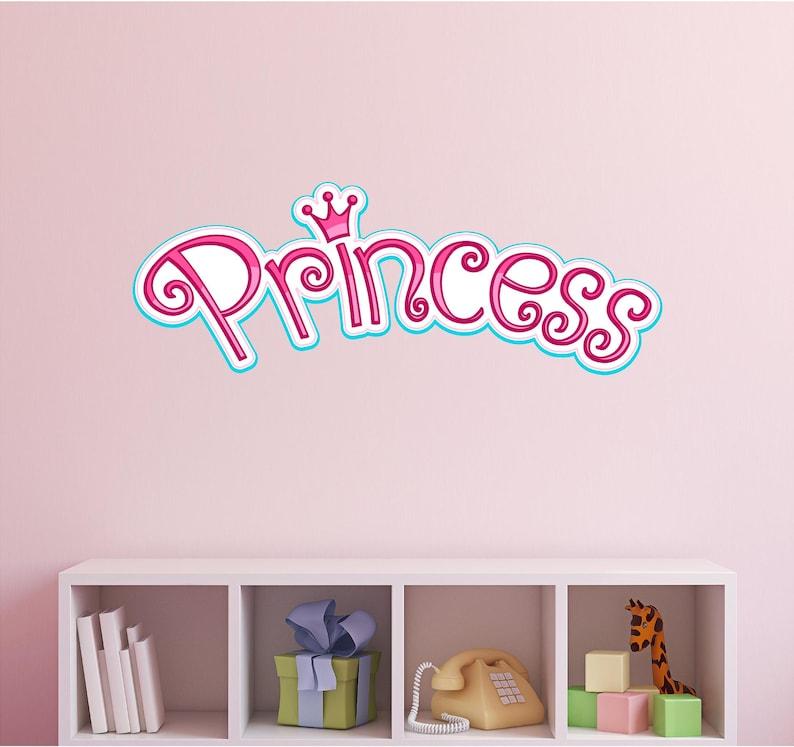 princess logo wall decal sticker girls bedroom nursery decor | etsy