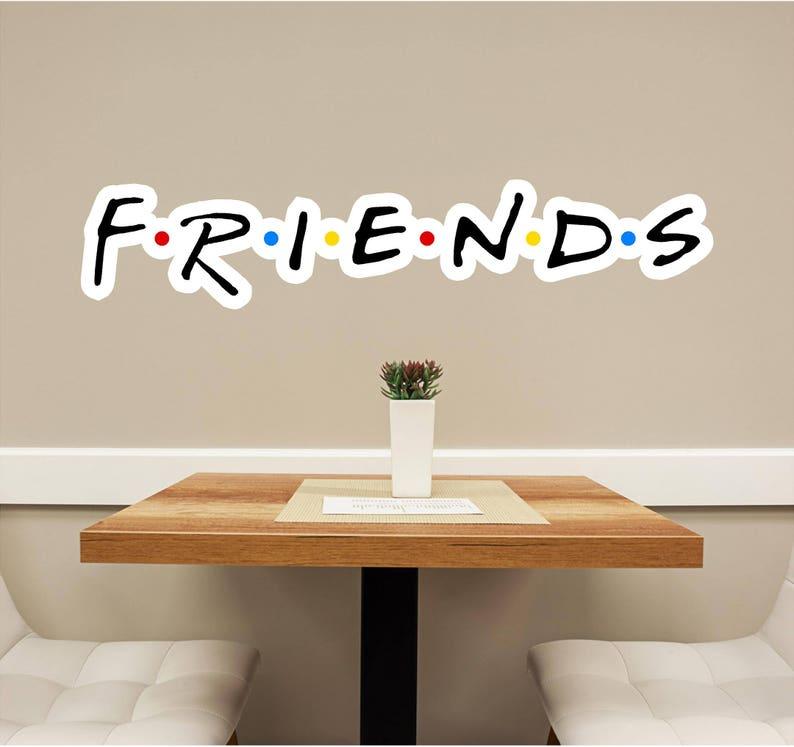 friends font 1 wall decal wall sticker logo fabric vinyl | etsy