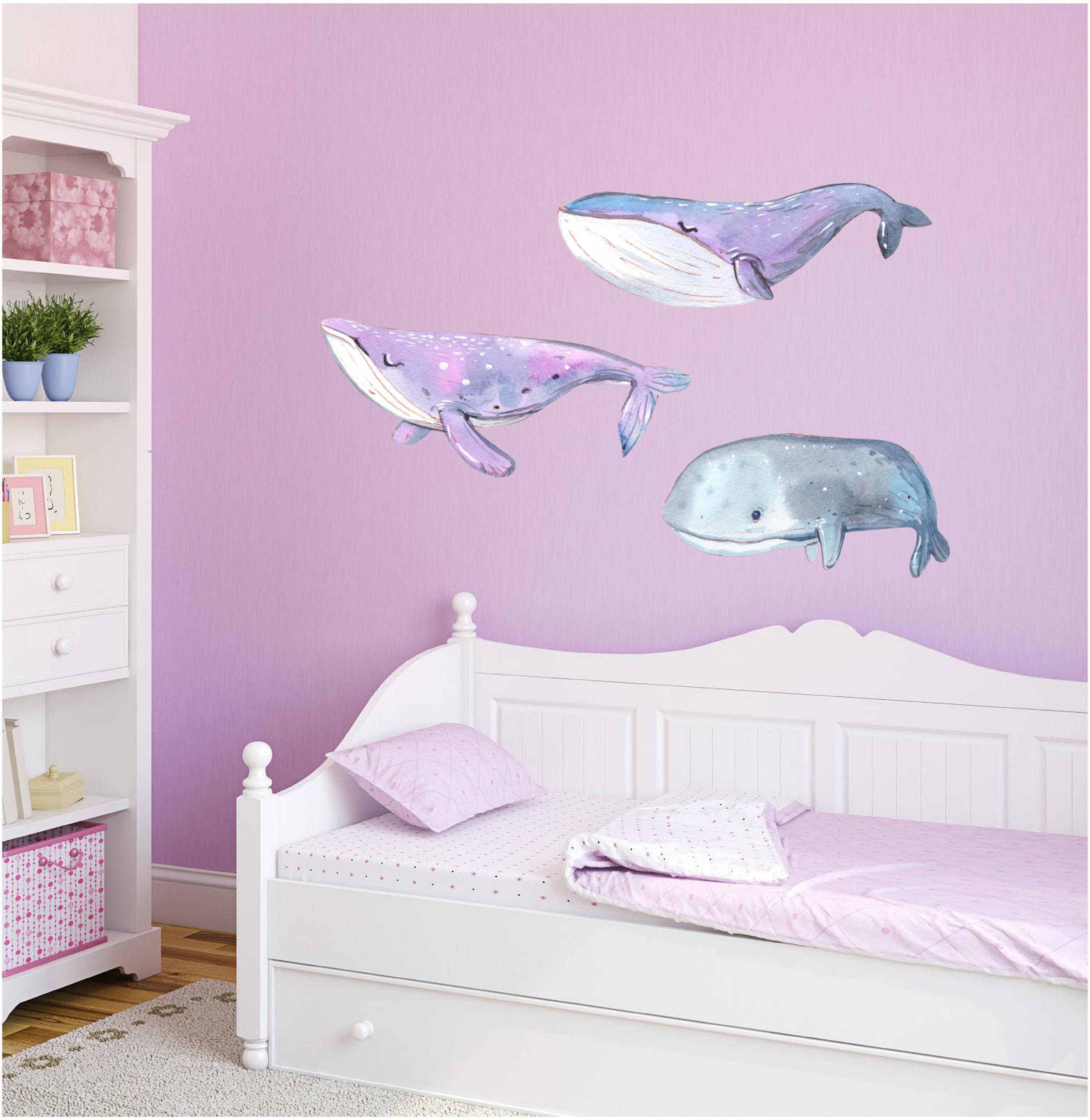 Orange Whale Wall Decal Watercolor Sea Ocean Wall Art Peel and Stick Wall Sticker Removable Fabric Vinyl Baby Girl Nursery Decor