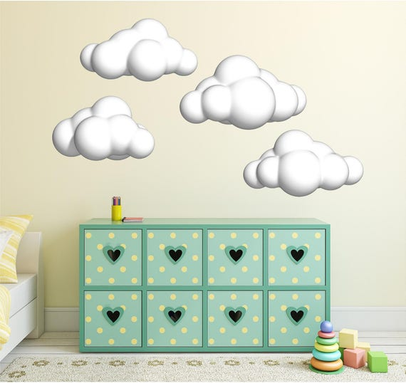 cloud wall decals set of clouds wall decal nursery wall | etsy