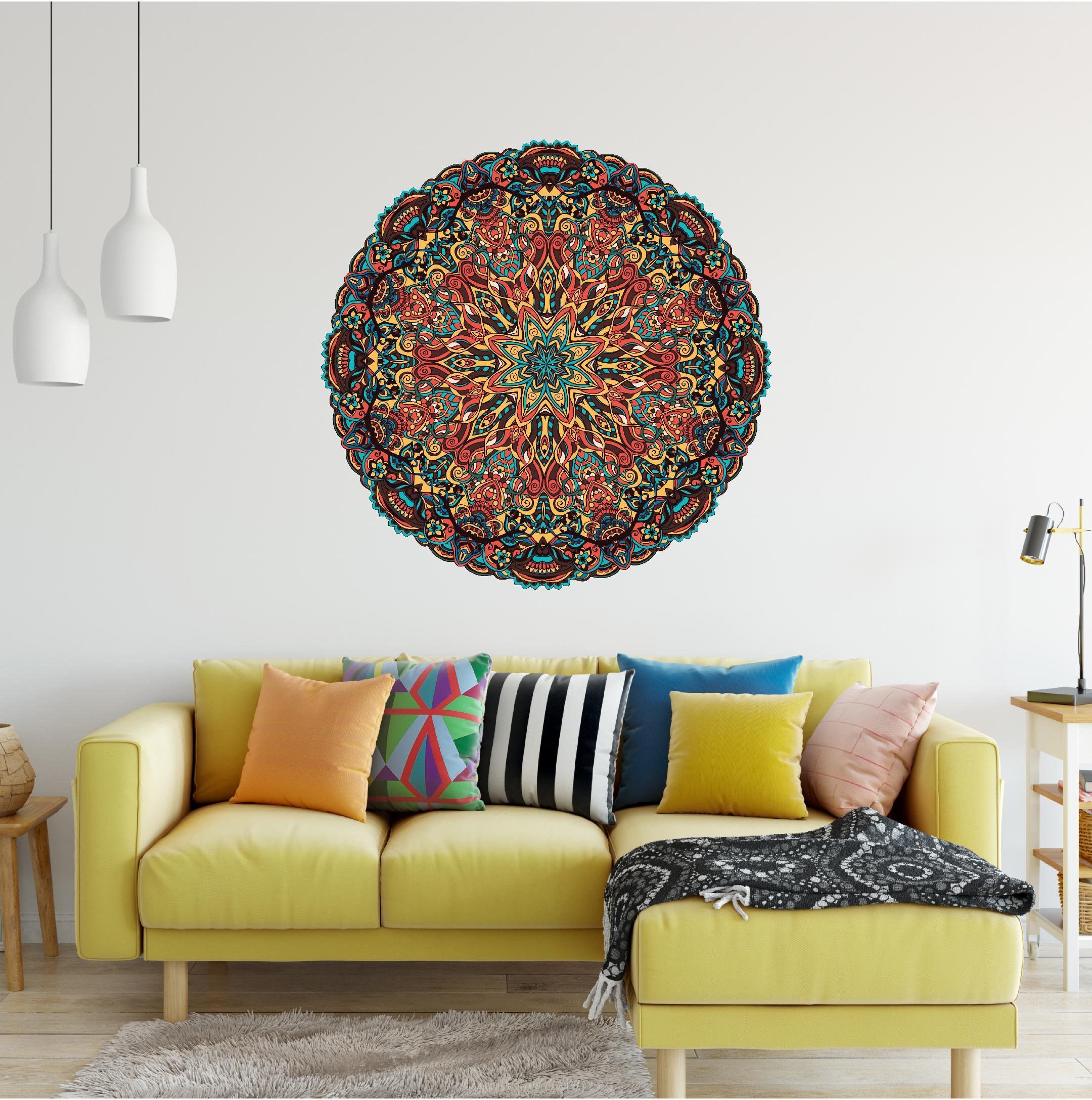 Peel and Stick Removable Vinyl Wall Sticker Yoga Studio Decor Bohemian Tapestry Wall Art Mandala Wall Decal #18 Mandala Tapestry