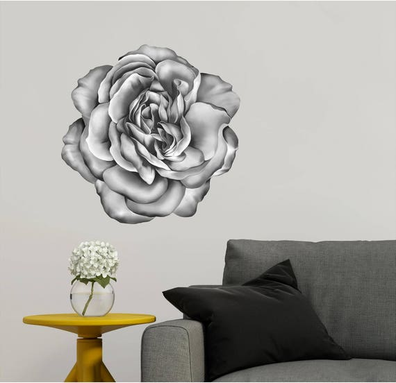 Rose Wall Decal Black and White Flower Wall Art Wall | Etsy