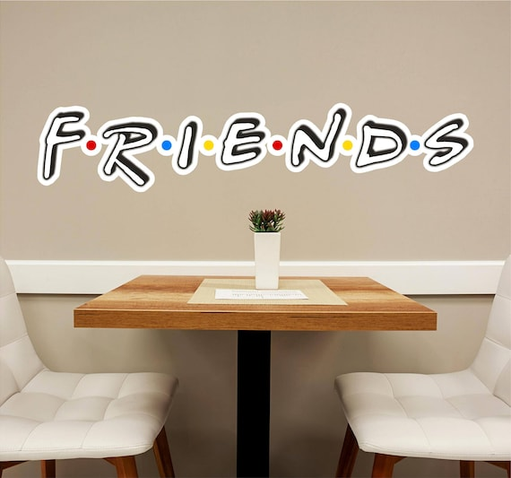 friends font 2 wall decal wall sticker logo fabric vinyl | etsy